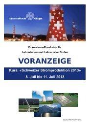 Schweizer Stromproduktion 2013 - Kernkraftwerk Gösgen