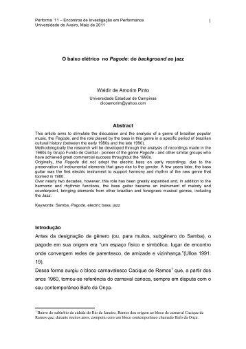 1 O baixo elétrico no Pagode - Performa - Universidade de Aveiro