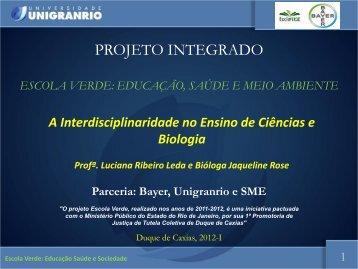 Oficina: A Interdisciplinaridade no Ensino de Ciências e - Unigranrio