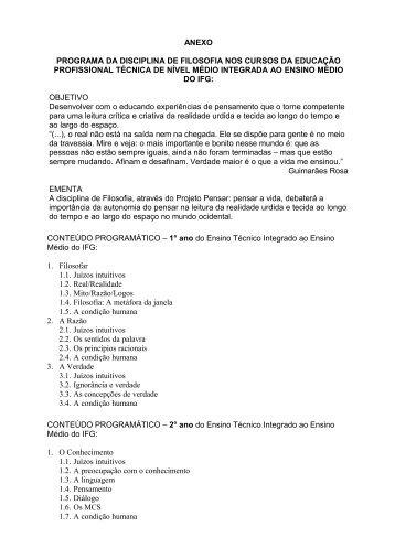 ANEXO PROGRAMA DA DISCIPLINA DE FILOSOFIA NOS ... - IFG