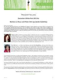 Pressemitteilung - bei der Deutschen Afrika Stiftung!
