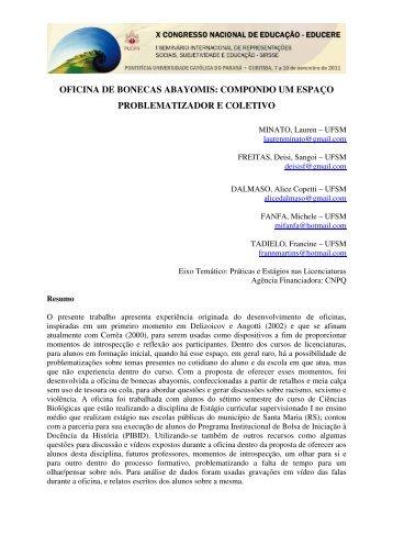 OFICINA DE BONECAS ABAYOMIS: COMPONDO UM ESPAÇO ...