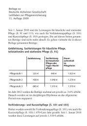 Beiblatt zum Leitfaden zur Pflegeversicherung - Deutsche Alzheimer ...