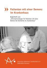 Patienten mit einer Demenz im  Krankenhaus - Deutsche Alzheimer ...