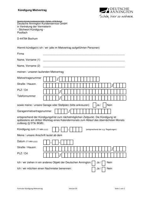 Formular Kündigung Deutsche Annington