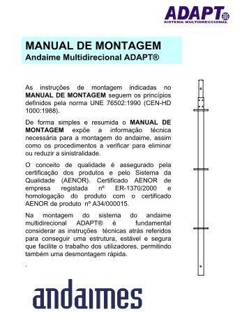 Certificado de montagem modelo ADAPT