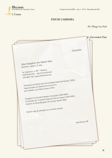 Conto: Fim de Carreira – Thiago Lia Fook - Revista Blecaute