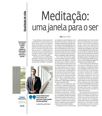 Reportagem do Correio Braziliense - Sociedade Vipassana de ...