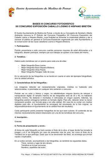 Bases III Concurso fotográfico Caballo Losino e ... - Medina de Pomar