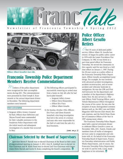 Franc Talk - Spring 2012 - Franconia Township