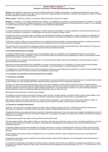 A jurisdição e a lei frente o Contrato Internacional de ... - Unicuritiba