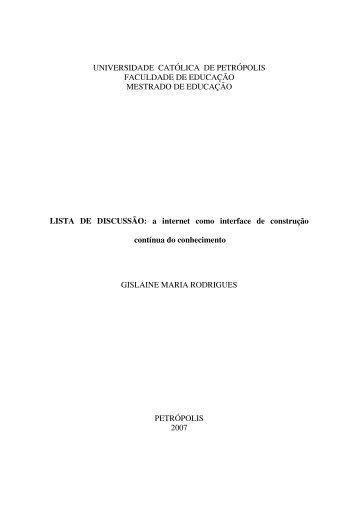 UNIVERSIDADE CATÓLICA DE PETRÓPOLIS FACULDADE DE ...