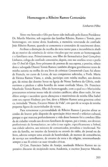 Homenagem a Ribeiro Ramos Centenário - Linhares Filho