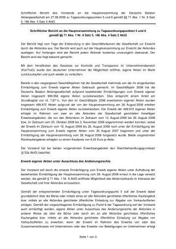 Schriftlicher Bericht des Vorstands an die Hauptversammlung der ...
