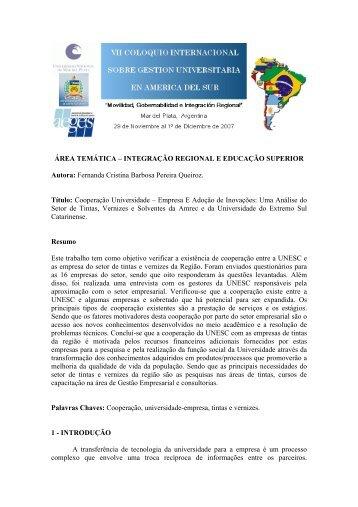área temática – integração regional e educação superior