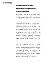Zwischenmitteilung 2. Hj. 2012 - Deutsche Balaton AG