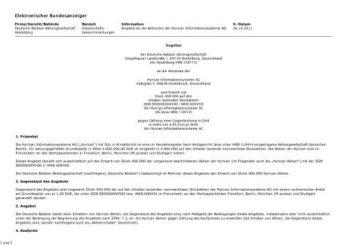 elektronischer Bundesanzeiger - Deutsche Balaton AG