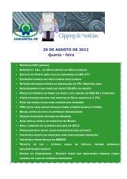 29 DE AGOSTO DE 2012 Quarta - feira - Sindimetal/PR