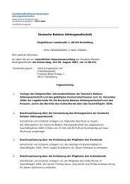 Tagesordnung - Deutsche Balaton AG