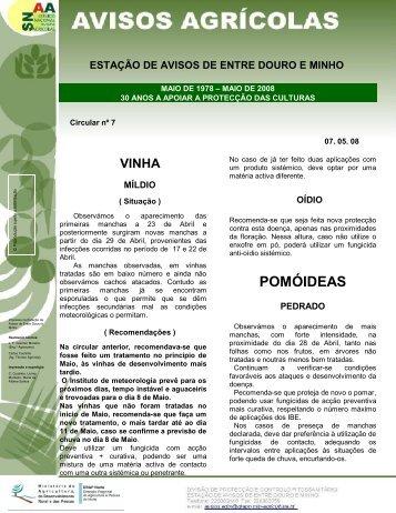 Aviso Agrícola - Direcção Regional de Agricultura e Pescas do Norte