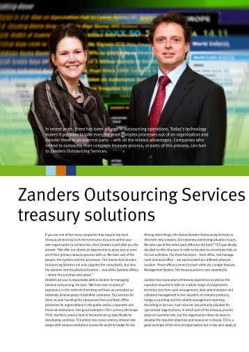 Zanders Outsourcing Services offers tailore treasury solutions