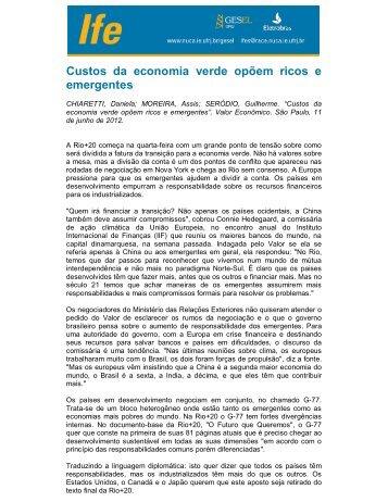 Custos da economia verde opõem ricos e emergentes - UFRJ