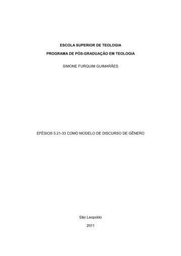 ESCOLA SUPERIOR DE TEOLOGIA PROGRAMA ... - Faculdades EST