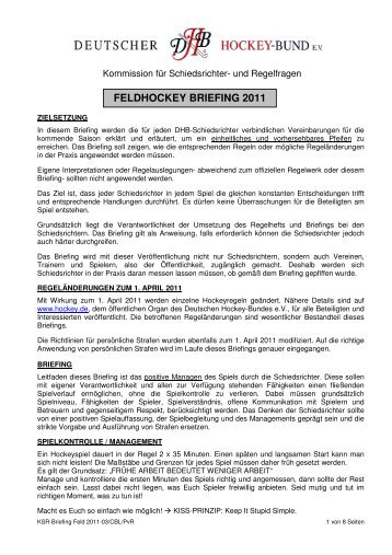 FELDHOCKEY BRIEFING 2011 - Deutscher Hockey Bund e.V.