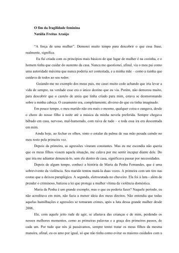"""O fim da fragilidade feminina Natália Freitas Araújo """"A força ... - CNPq"""