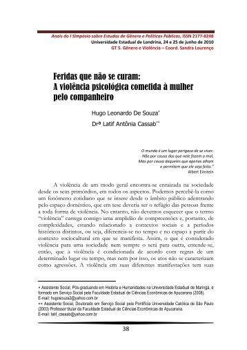 A violência psicológica - Universidade Estadual de Londrina