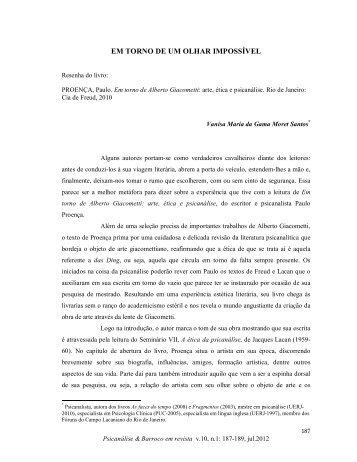 EM TORNO DE UM OLHAR IMPOSSÍVEL - Psicanálise & Barroco