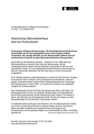 Historisches Bahnwärterhaus wird zur Kuckucksuhr - Deutsches ...