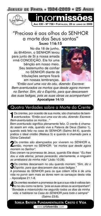 """""""Preciosa é aos olhos do SENHOR a morte dos ... - cristoevida.com"""