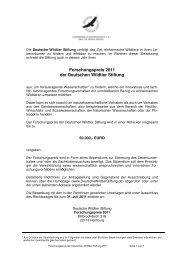 Ausschreibung Forschungspreis 2011  - Deutsche Wildtier Stiftung