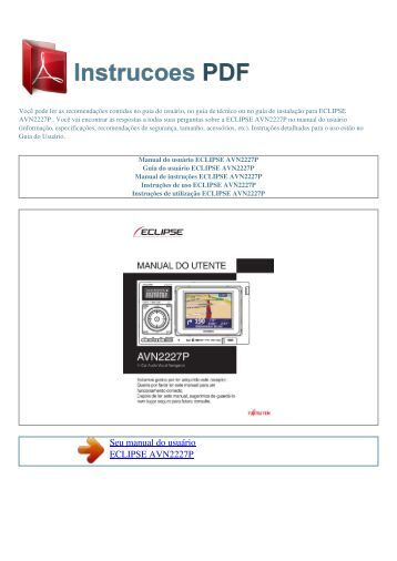 Manual do usuário ECLIPSE AVN2227P - INSTRUCOES PDF