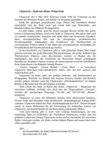 Uljanowsk - Deutsch-Russisches Forum eV
