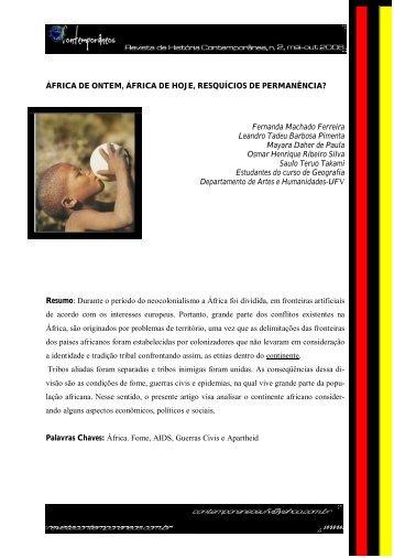 ÁFRICA DE ONTEM, ÁFRICA DE HOJE, RESQUÍCIOS DE ...
