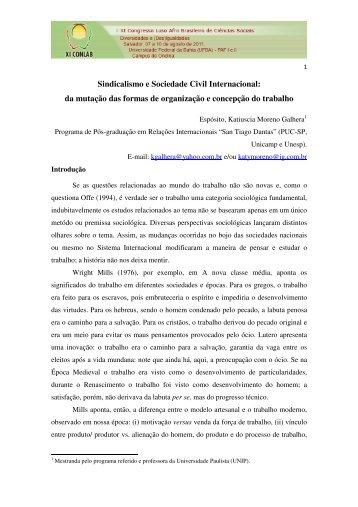 Sindicalismo e Sociedade Civil Internacional - XI Congresso Luso ...