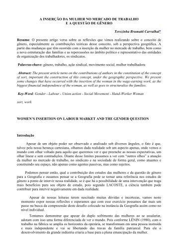 A INSERÇÃO DA MULHER NO MERCADO DE TRABALHO E A ...