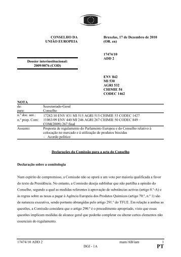 17474/10 ADD 2 mam/AB/iam 1 DGI - 1A CONSELHO DA UNIÃO ...