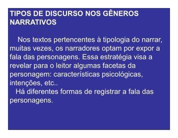 TIPOS DE DISCURSO NOS GÊNEROS NARRATIVOS Nos textos ...