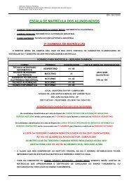 Escala de Matricula 2ª CHAMADA 1º SEM 09
