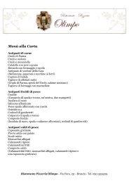 Menù alla Carta - Ristorante Pizzeria Olimpo
