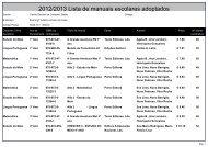 2012/2013 Lista de manuais escolares adoptados - Agrupamento ...