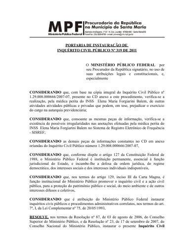 Portaria de Instauração de ICP nº 319/2011/RBM - Procuradoria da ...