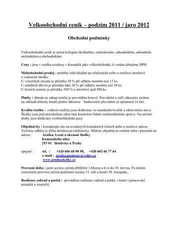Velkoobchodní ceník – podzim 2011 / jaro 2012 - Lesní a okrasné ...