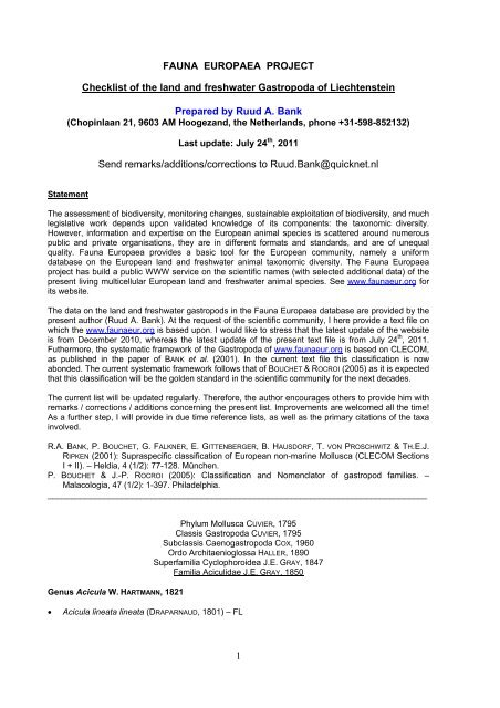 FAUNA EUROPAEA PROJECT Checklist of the land and freshwater ...