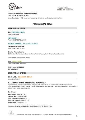 Evento: 16ª Mostra de Cinema de Tiradentes - Globo.com