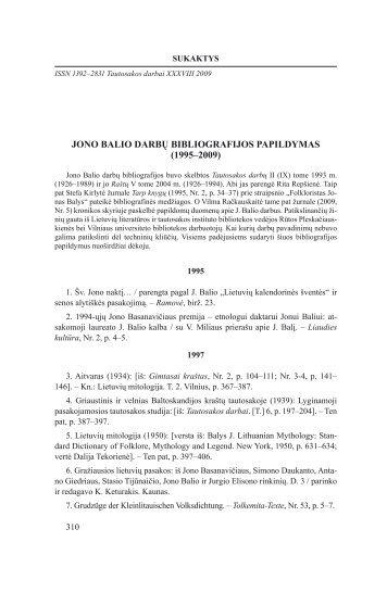 jono balio darbų bibliografijos papildymas - Lietuvių literatūros ir ...