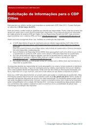 Solicitação de Informações para o CDP Cities - Carbon Disclosure ...